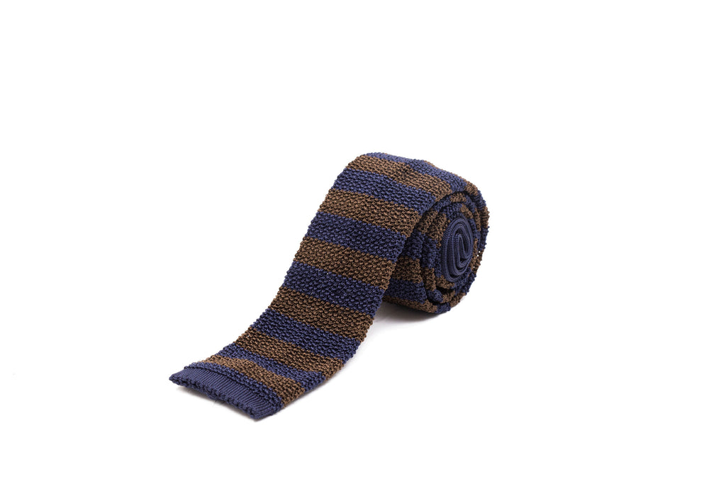 Knit Tie - Brown and Navy Stripe