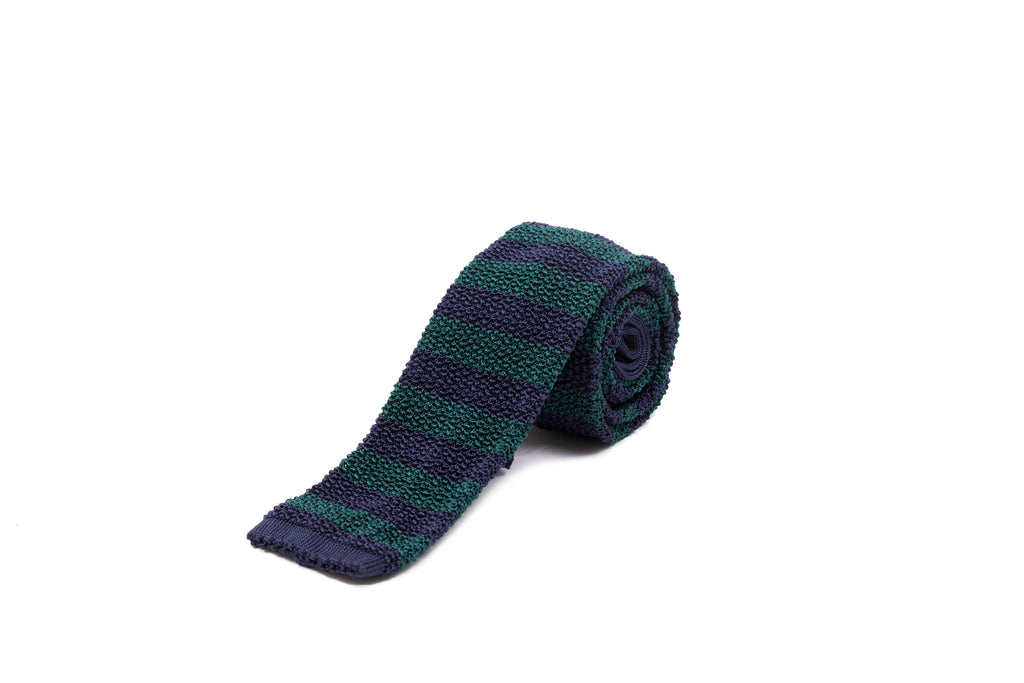 Knit Tie - Navy and Bottle Green Stripe