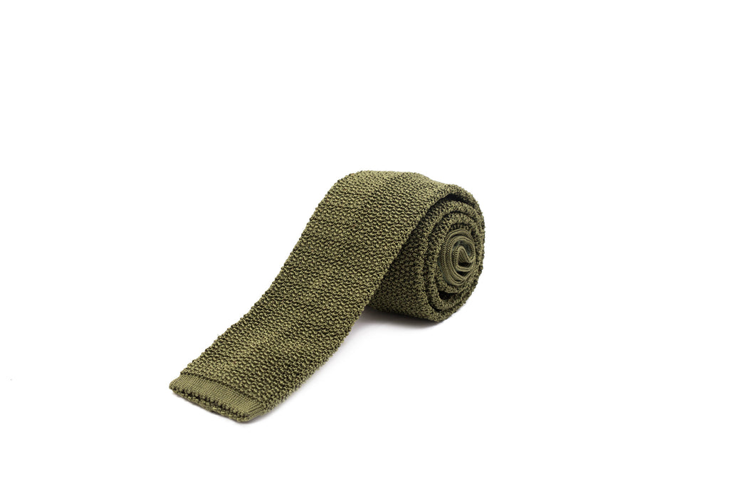 Knit Tie - Olive Green