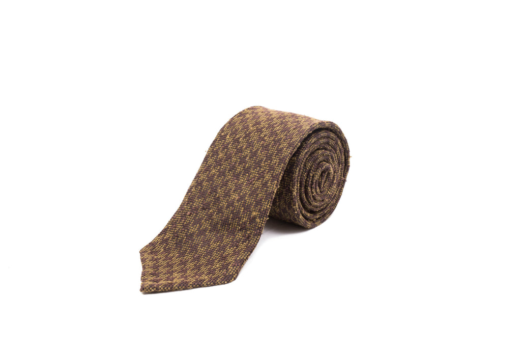 Wool and Silk Tie - Large Houndstooth in Brown