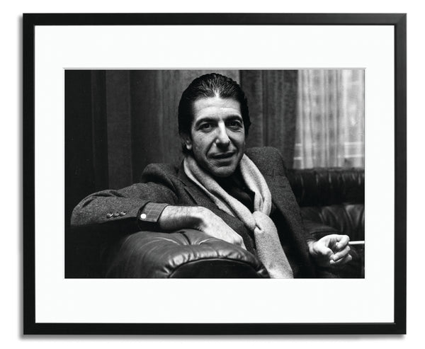 Leonard Cohen shares a joke and smokes a cigarette, Framed photograph