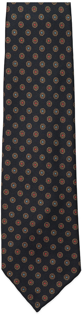 Black Small Floral Print Tie