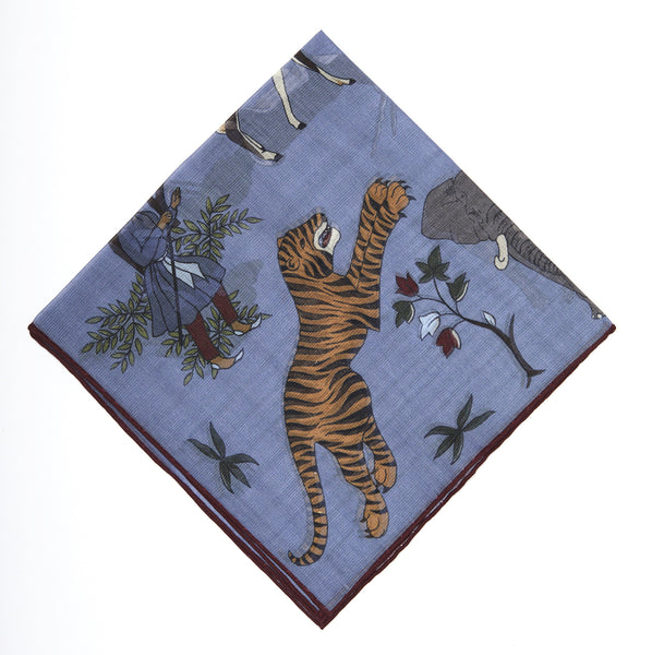 Pocket Square - Blue Tiger Print