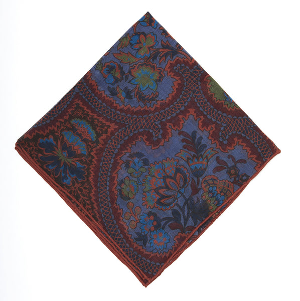 Pocket Square - Blue & Orange Paisley