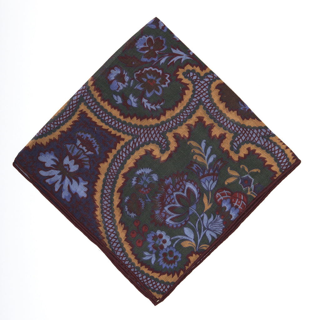Pocket Square - Green & Yellow Paisley