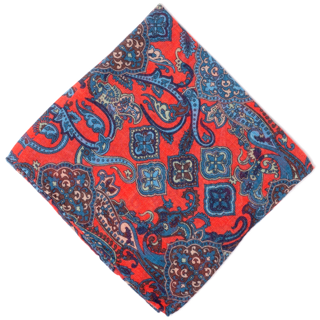 Pocket Square - Red & Blue Paisley
