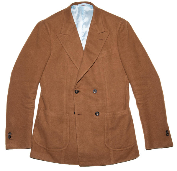 Dark Tan Cashmere Double Breasted Campania Jacket