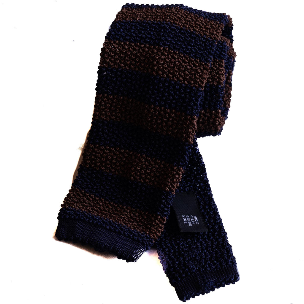 Knit Tie - Navy and Brown Stripe
