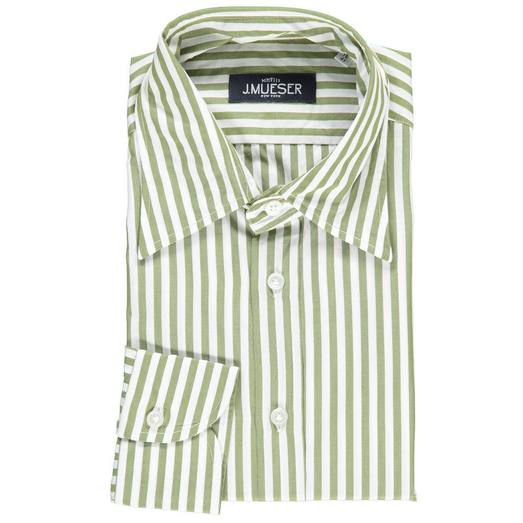 Olive Awning Stripe Point Collar
