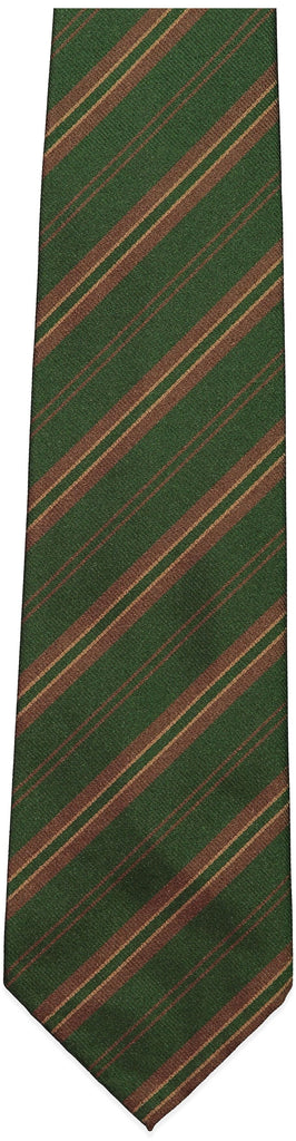 Green and Brown Stripe Repp Tie