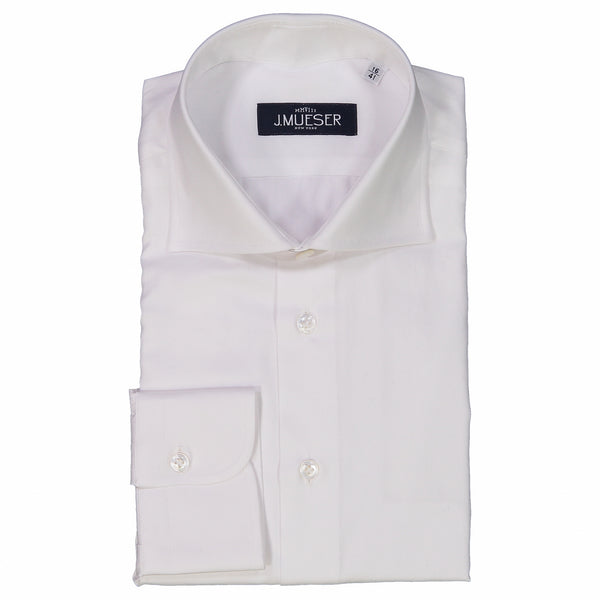 White Herringbone Spread Collar Shirt