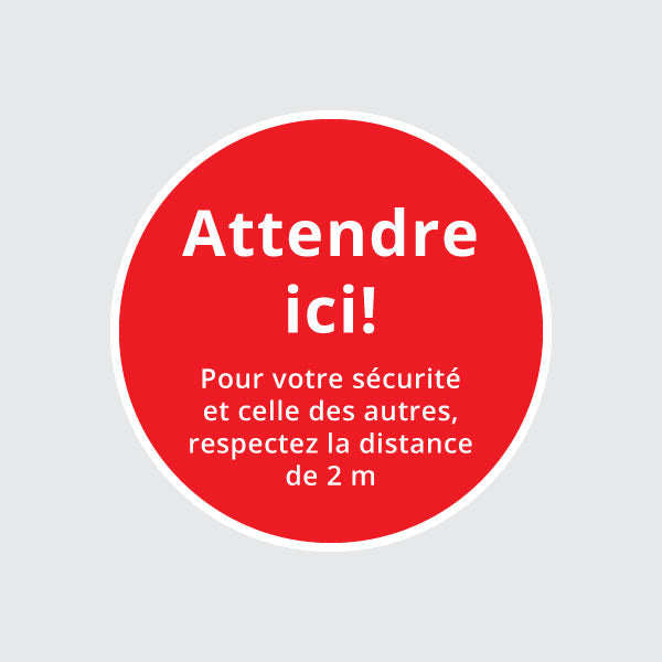 "Autocollant rond ""Attendre ici"""