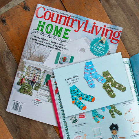 The product image of Southern Socks featured in Country Living Magazine