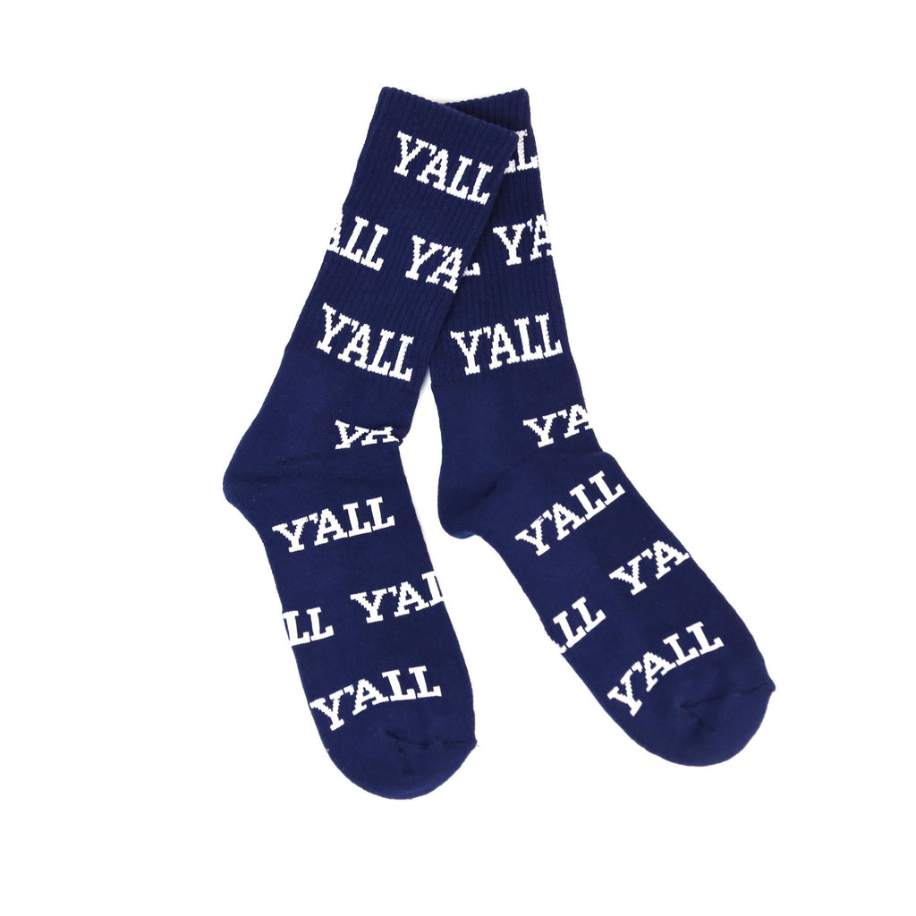 Y'ALL Socks (Navy and White)-socks-Southern Socks
