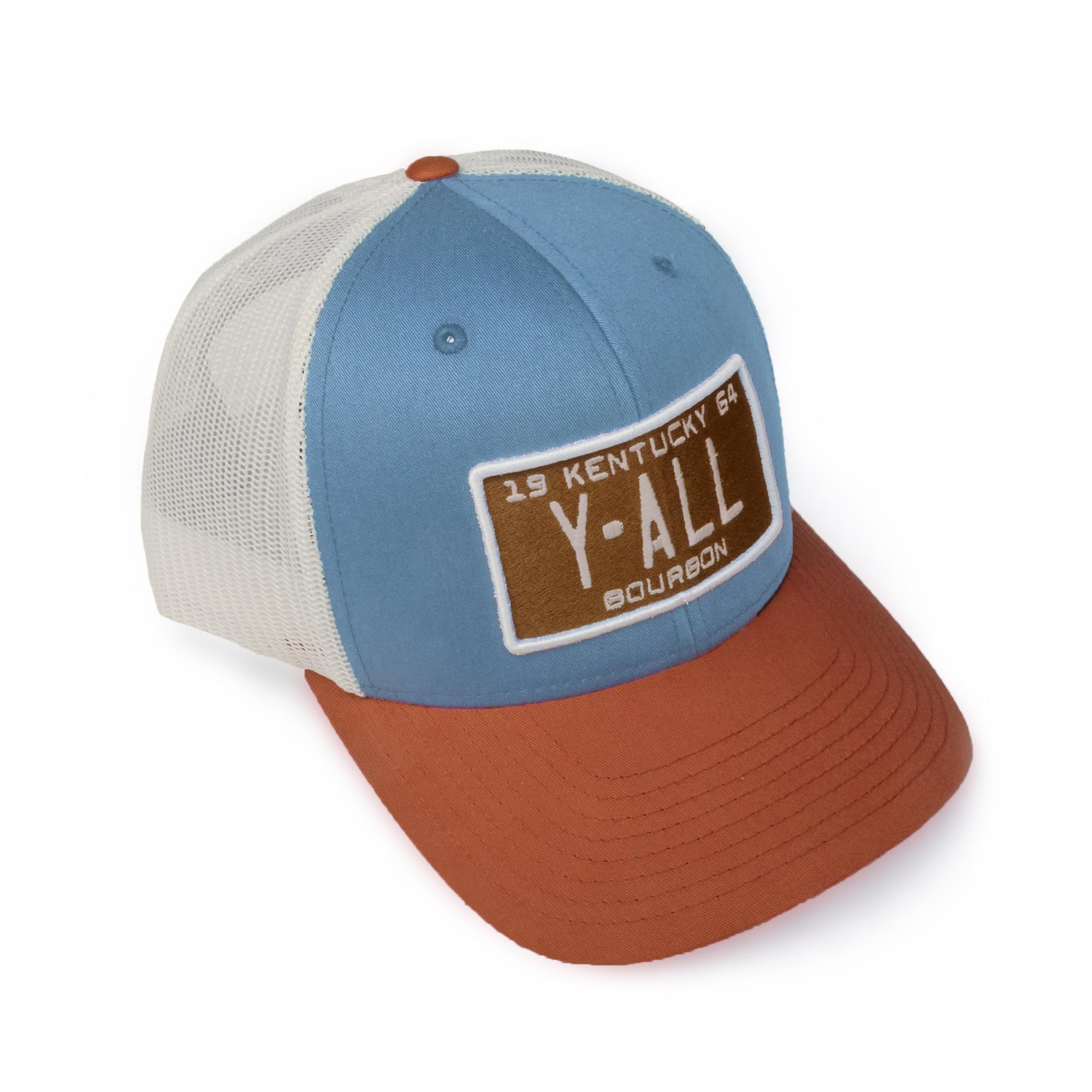 Y'ALL License Plate Gasoline Caps (Blue and Orange)-Hat-Southern Socks