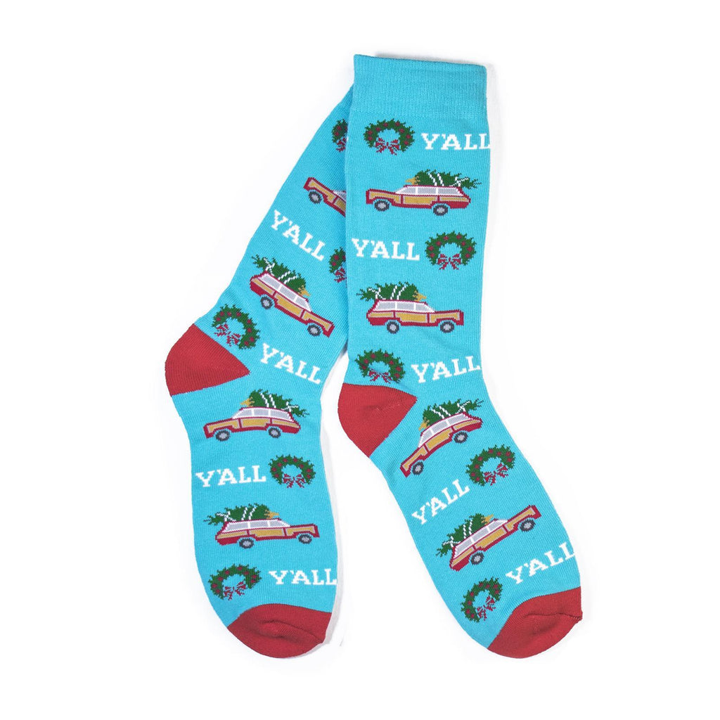 Y'alliday Socks (TEAL)-socks-Southern Socks