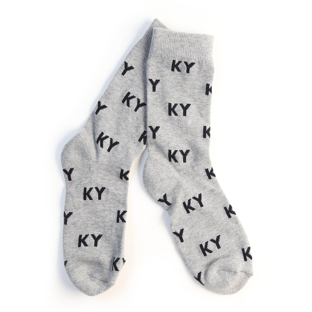 KY Letter Socks (Grey and Black)-socks-Southern Socks