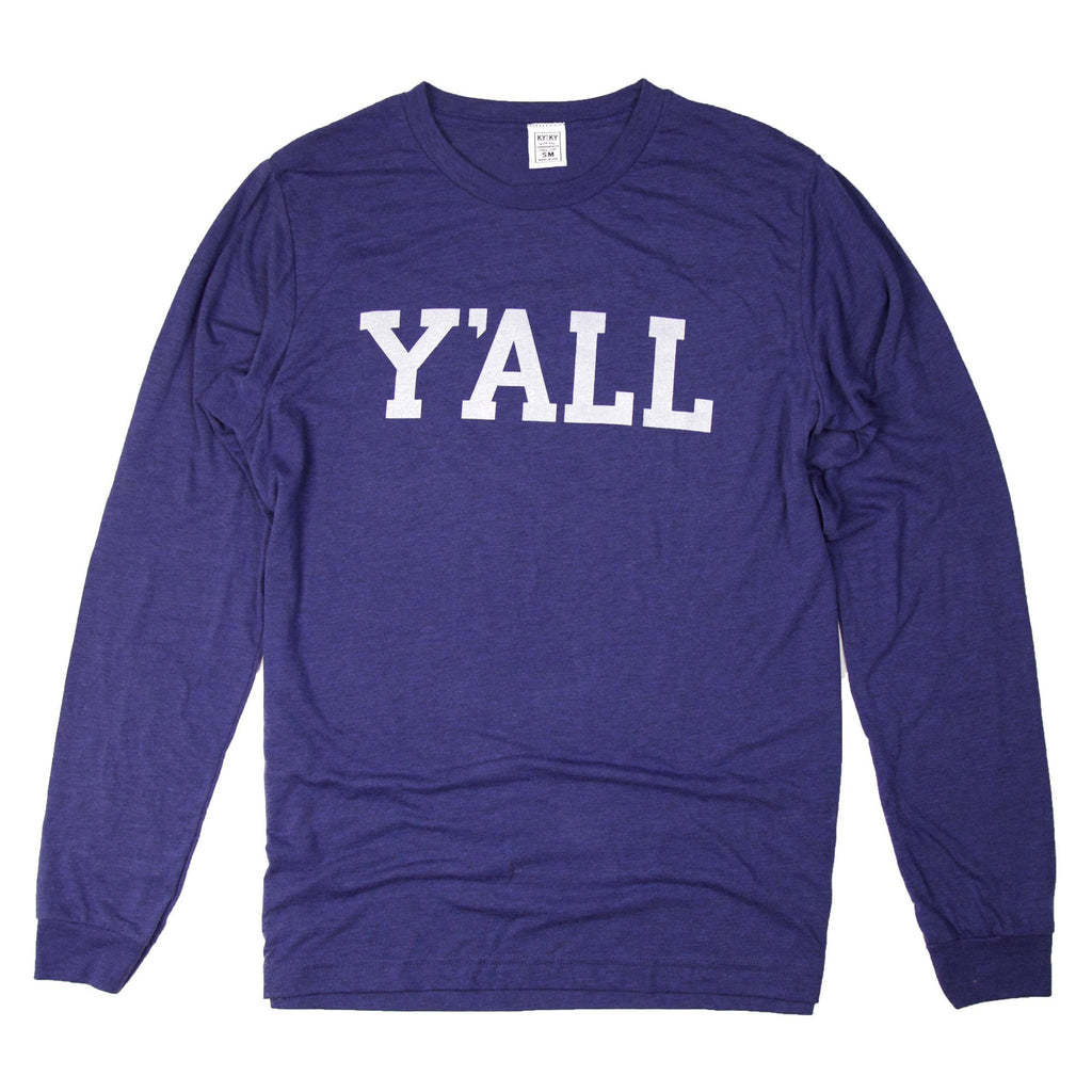 Long Sleeve Y'ALL Shirt (Blue)-Long Sleeve-Southern Socks