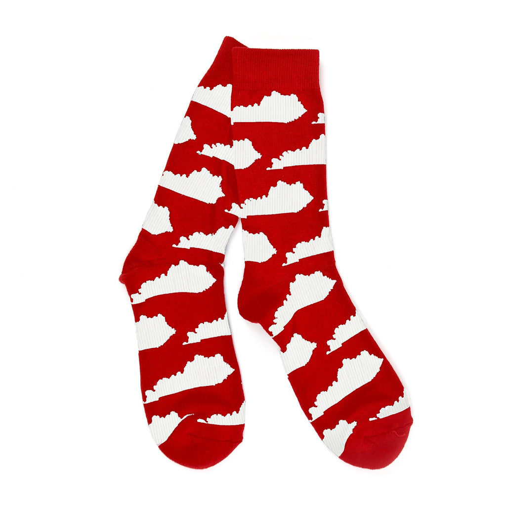 Kentucky State Shape Socks (Red and White)-socks-Southern Socks