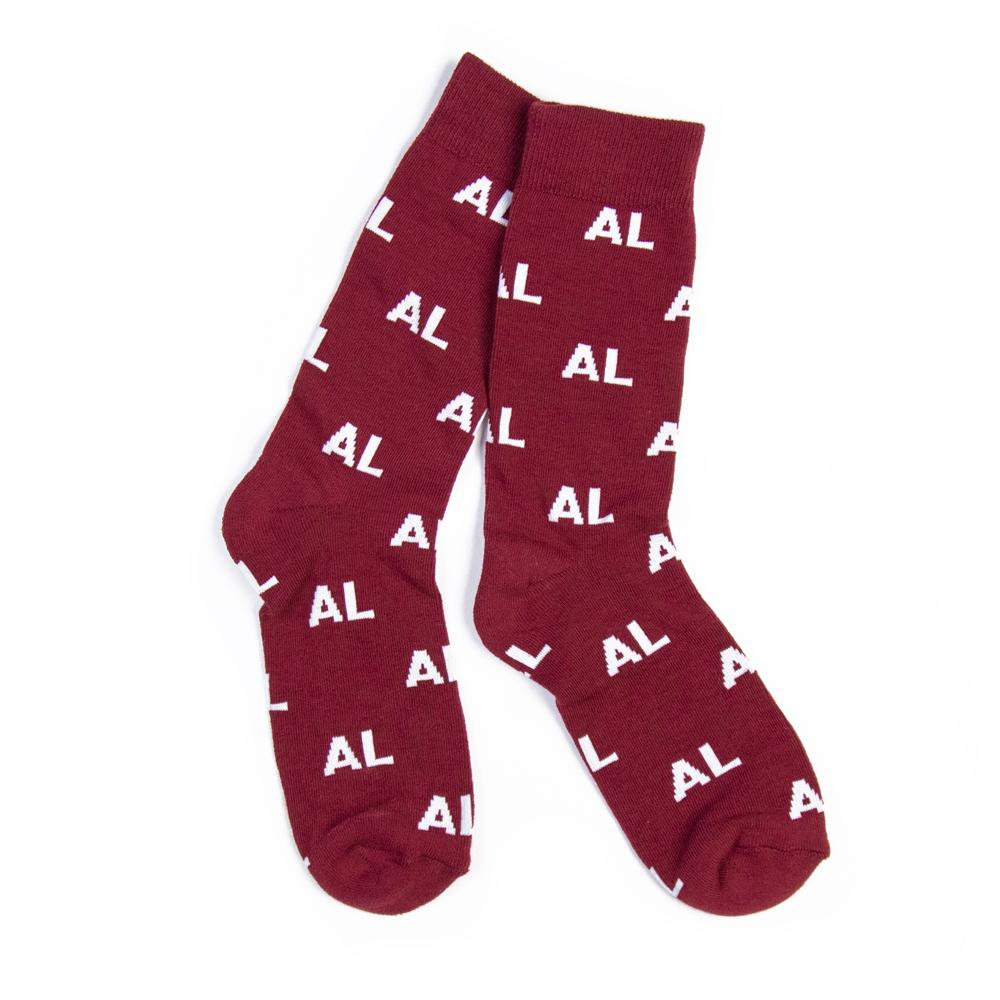 AL Letter Socks (Crimson and White)-socks-Southern Socks