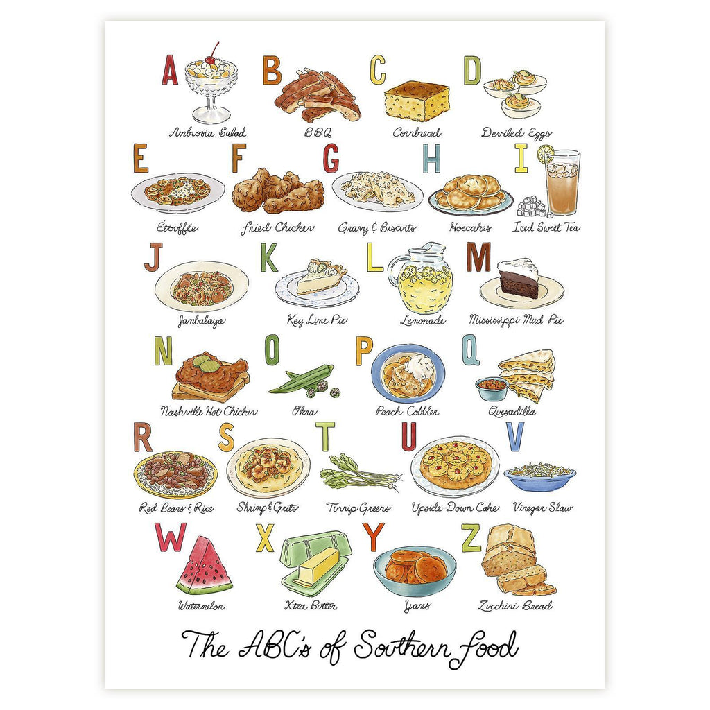 ABCs of Southern Food-Print-Southern Socks