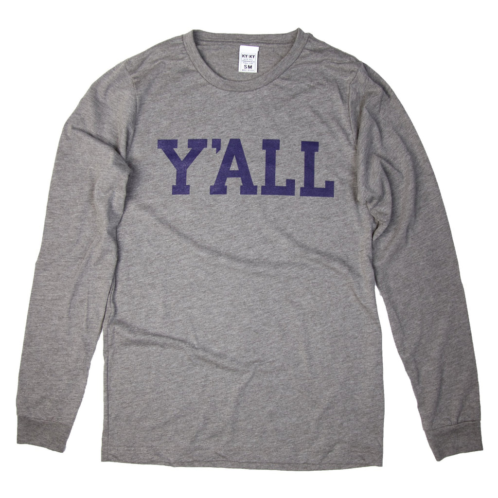 Long Sleeve Y'ALL Shirt (Grey)-Southern Socks