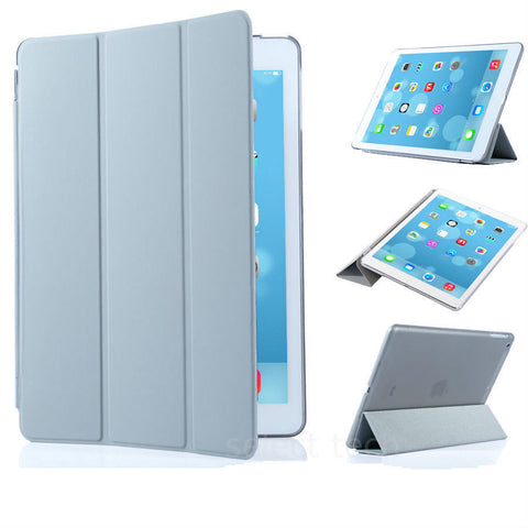 iPad Magnetic Slim Leather Case Silver