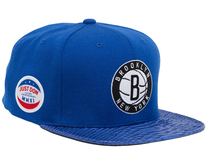 Brooklyn Nets Logo (royal royal-matte royal) JUST ☆ DON By Mitchell and  Ness Genuine python sewn on premium lamb skin with a gold buckle. (Wool  Crown) 8eb8b12fd70