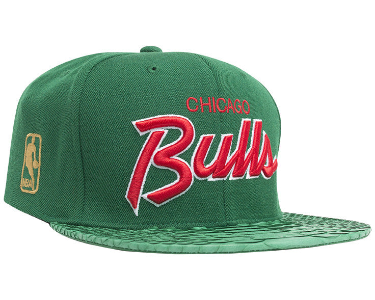 Chicago Bulls Script (Green green-matte green) JUST ☆ DON By Mitchell and  Ness Genuine python sewn on premium lamb skin with a gold buckle. (Wool  Crown) 1895b0e3758f