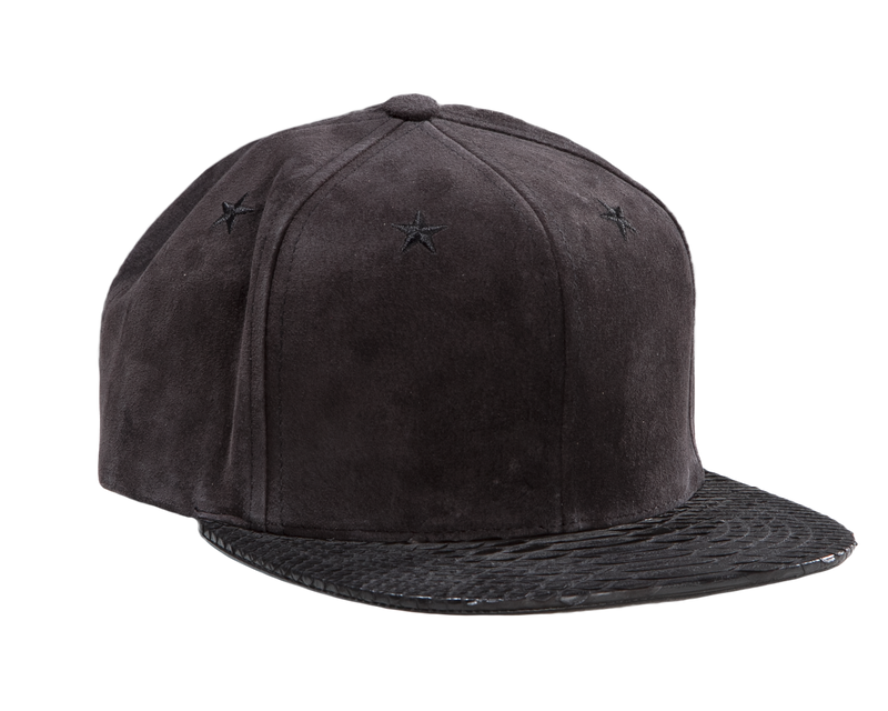 0605bf15a34 ... this suede cap is detailed with tonal star embroidery at the crown.  Adjustable python tab at back with gold-tone
