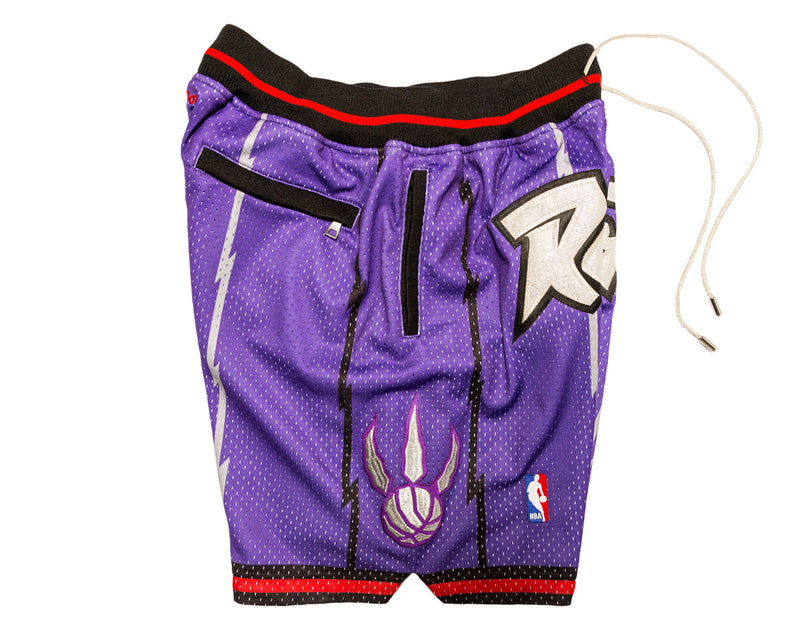 Toronto Raptors Shorts (Purple) JUST ☆ DON By Mitchell   Ness100% Poly  textured mesh short with knit rib waist band.