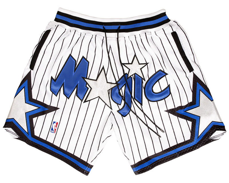 240ee86c151 Orlando Magic Shorts (White) JUST ☆ DON By Mitchell   Ness100% Poly  textured mesh short with knit rib waist band.