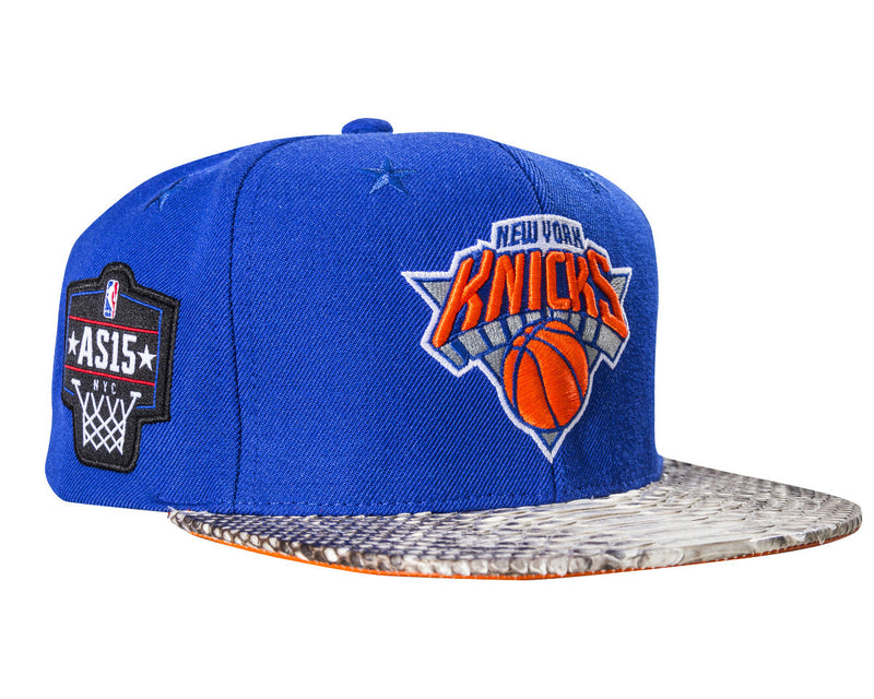 11fb28116c3 New York Knicks Logo w  2015 All-Star Patches(Royal Natural-Matte Orange)  JUST ☆ DON By Mitchell and Ness Genuine python sewn on premium lamb skin  with a ...
