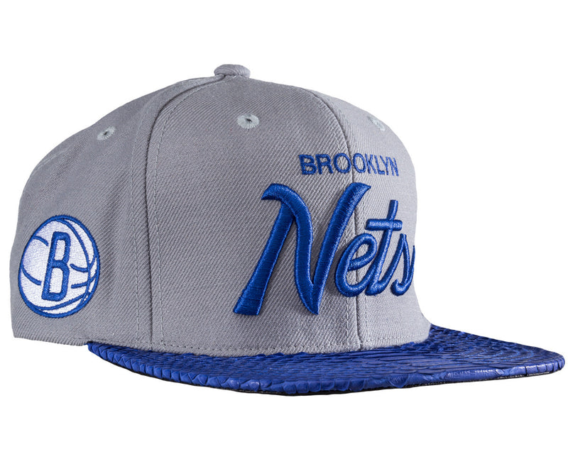 info for 1e762 d6ce0 Brooklyn Nets Script (Grey Blue-Matte Black) JUST ☆ DON By Mitchell and  Ness Genuine python sewn on premium lamb skin with a gold buckle. (Wool  Crown)