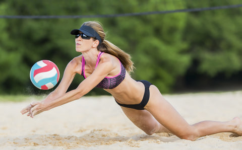 exercise by doing beach volleyball like in the Olympics