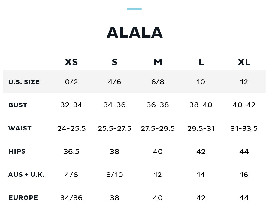 Size Chart for ALALA