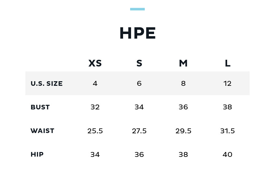 Size Chart for HUMAN PERFORMANCE ENGINEERING (HPE)