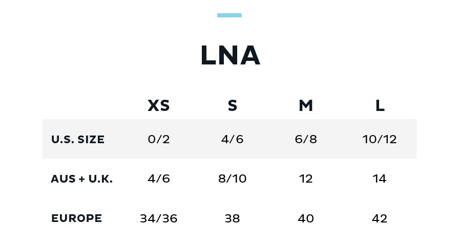 Size Chart for LNA