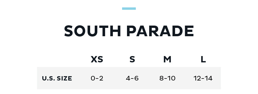Size Chart for South Parade