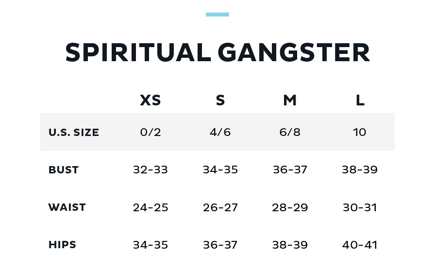 Size Chart for SPIRITUAL GANGSTER