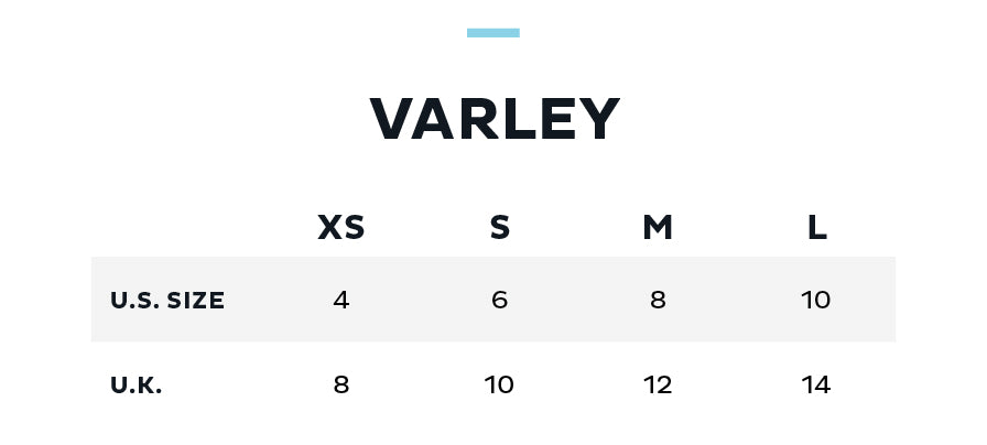 Size Chart for VARLEY