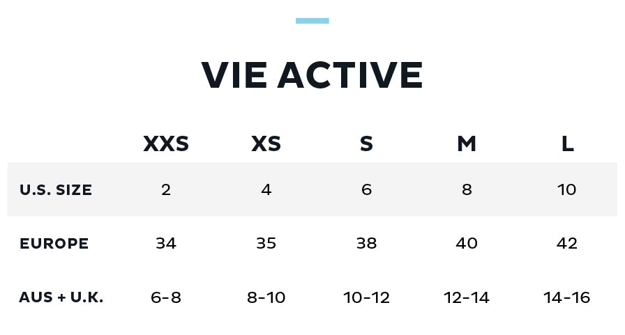 Size Chart for Vie Active