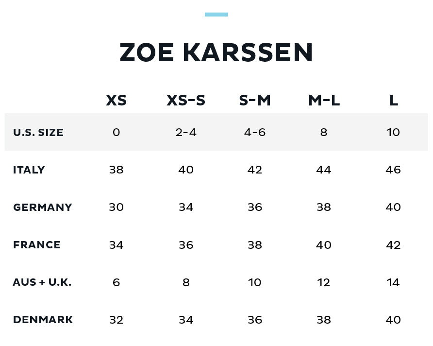 Size Chart for ZOE KARSSEN
