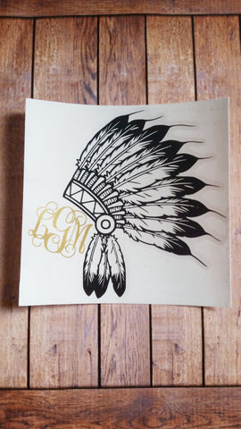 Indian Headdress and Monogram Decal