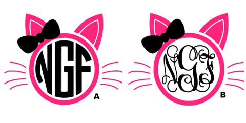 Cat With Bow Monogram Decal