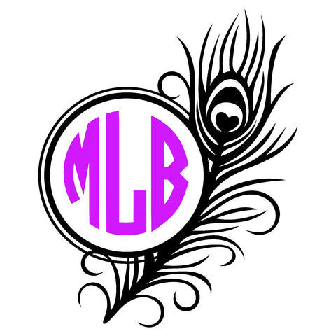 Feather Circle Monogram Decal