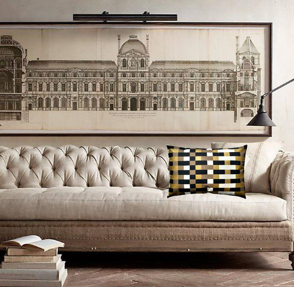 Sofa by Restoration Hardware with Via San Vito Pillow