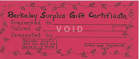 Berkeley Surplus Gift Certificate