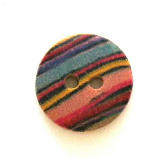 Button, wood, 15mm, multicolour