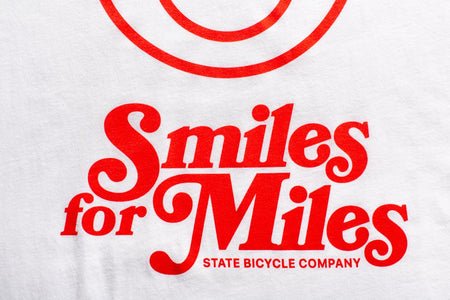 "State Bicycle Co. - ""Smiles for Miles"" - Premium T-Shirt (White) (Ships via USA)"